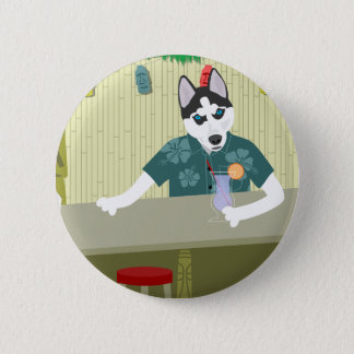 Siberian Husky Tiki Bar 6 Cm Round Badge