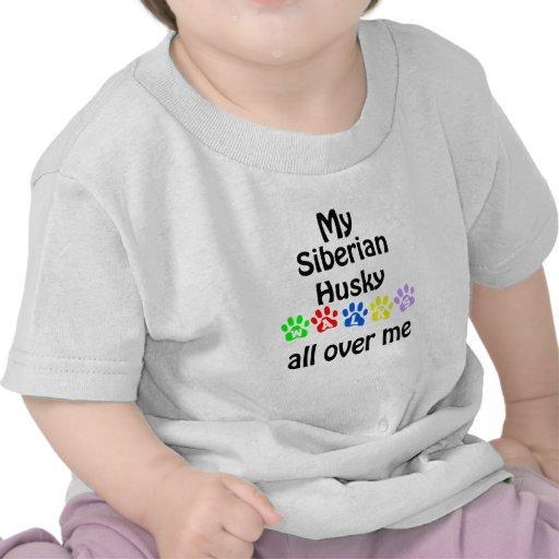 Siberian Husky Walks Design Tee Shirt