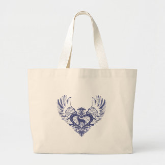 Siberian Husky Winged Heart Large Tote Bag