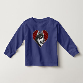 SIberian Husky with Heart Toddler T-Shirt