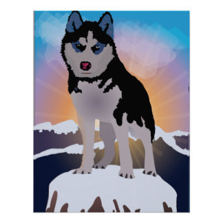 Siberian Husky With Mountain Landscape Poster