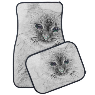Siberian Kitty Cat Napping on the Marble Slab Car Mat