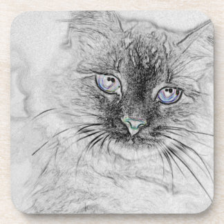 Siberian Kitty Cat Napping on the Marble Slab Coasters