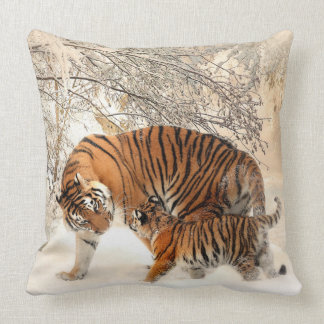 Siberian Tiger and Cub Pillow