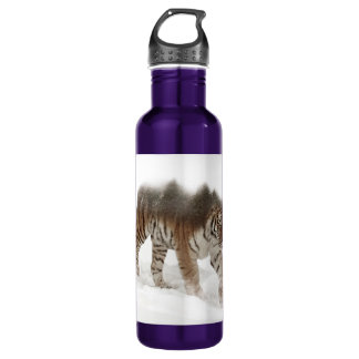 Siberian tiger-Tiger-double exposure-wildlife 710 Ml Water Bottle