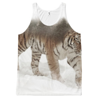 Siberian tiger-Tiger-double exposure-wildlife All-Over Print Singlet