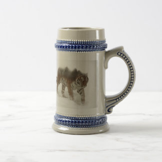 Siberian tiger-Tiger-double exposure-wildlife Beer Stein