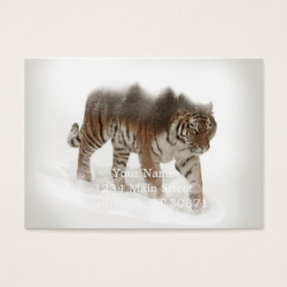 Siberian tiger-Tiger-double exposure-wildlife Business Card