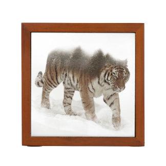 Siberian tiger-Tiger-double exposure-wildlife Desk Organiser