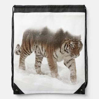 Siberian tiger-Tiger-double exposure-wildlife Drawstring Bag