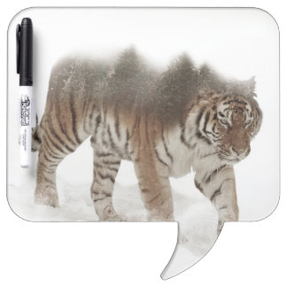 Siberian tiger-Tiger-double exposure-wildlife Dry Erase Board