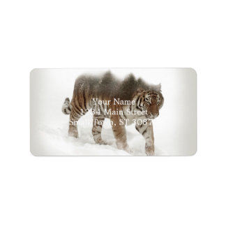 Siberian tiger-Tiger-double exposure-wildlife Label