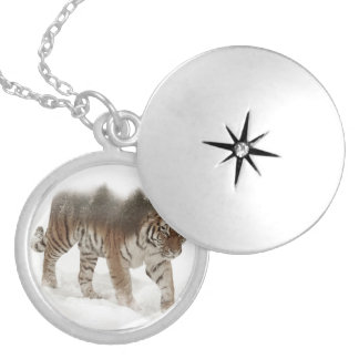 Siberian tiger-Tiger-double exposure-wildlife Locket Necklace