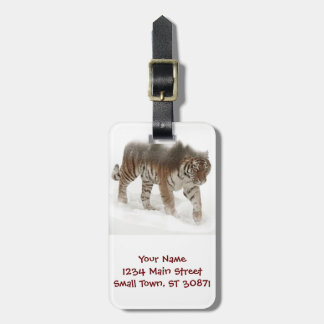 Siberian tiger-Tiger-double exposure-wildlife Luggage Tag