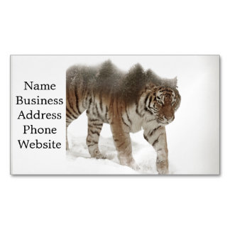 Siberian tiger-Tiger-double exposure-wildlife Magnetic Business Card