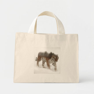 Siberian tiger-Tiger-double exposure-wildlife Mini Tote Bag