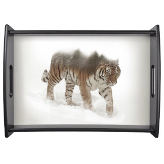 Siberian tiger-Tiger-double exposure-wildlife Serving Tray