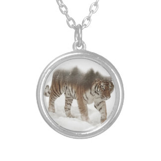 Siberian tiger-Tiger-double exposure-wildlife Silver Plated Necklace