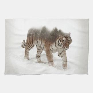 Siberian tiger-Tiger-double exposure-wildlife Tea Towel