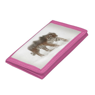 Siberian tiger-Tiger-double exposure-wildlife Tri-fold Wallet