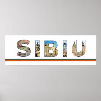 sibiu city romania landmark inside text symbol tra poster