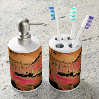 Sibiu painting soap dispenser and toothbrush holder
