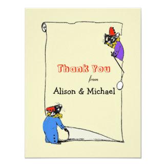 Sibling Mice Thank You Notecard 11 Cm X 14 Cm Invitation Card