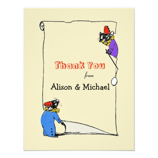 Sibling Mice Thank You Notecard Personalized Invitations