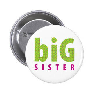SIBLINGS COLLECTION - big sister lime Pinback Button