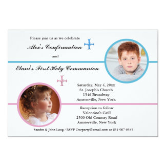 "Siblings Two Photo Religious Invitation 5"" X 7"" Invitation Card"