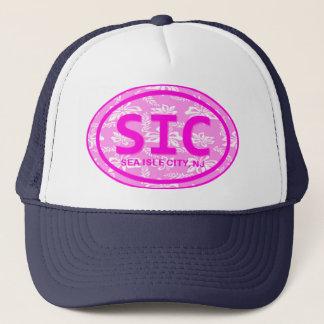 SIC Sea Isle City NJ Pink Floral Beach Tag Hat