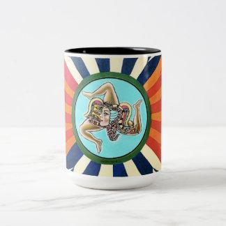 Sicilia la Trinacria symbol of Sicily Two-Tone Coffee Mug