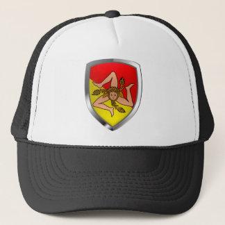 Sicilia Mettalic Emblem Trucker Hat