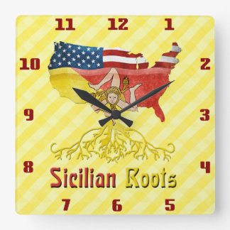 Sicilian American Roots Square Wall Clock