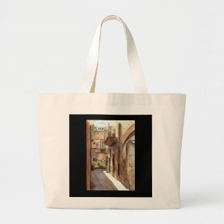 Sicilian street large tote bag