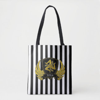 Sicilian Trinacria Black Gold Bold Stripe Tote Bag