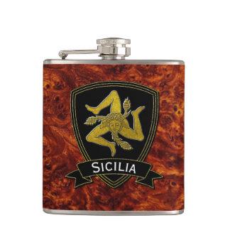 Sicilian Trinacria Black & Gold Hip Flask