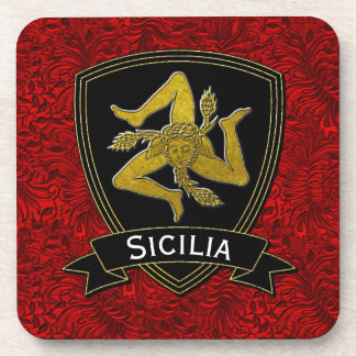 Sicilian Trinacria Black Gold Red Foil Coaster