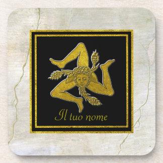 Sicilian Trinacria Gold on Fresco Your Name Drink Coaster