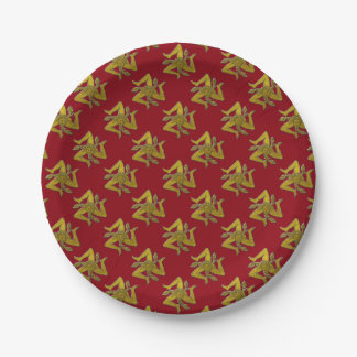 Sicilian Trinacria Gold Your Background Color Paper Plate