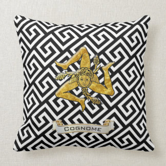 Sicilian Trinacria Greek Key Personalize Cushion