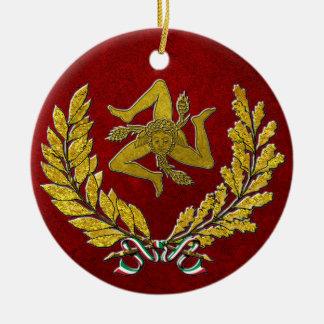 Sicilian Trinacria Heirloom in Gold on Red Ceramic Ornament