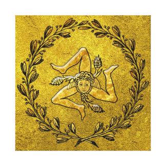 Sicilian Trinacria Olive Wreath in Gold Stretched Canvas Prints
