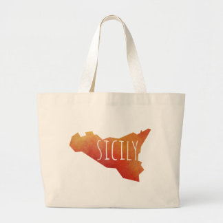 Sicily Map Large Tote Bag
