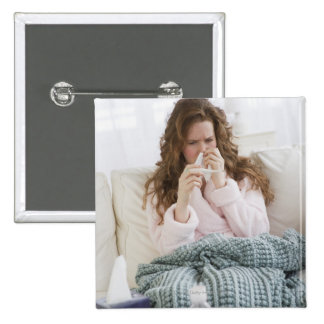 Sick woman on couch 15 cm square badge