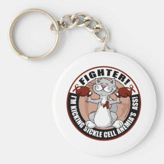Sickle Cell Anemia Fighter Cat Basic Round Button Key Ring