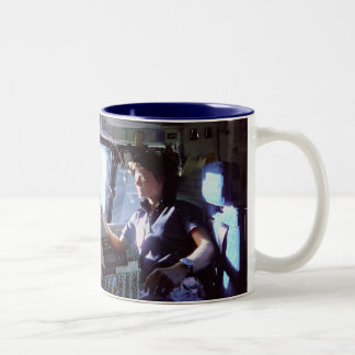 Side 1: Sally Ride - Side 2: Shuttle Lifting Off Two-Tone Coffee Mug