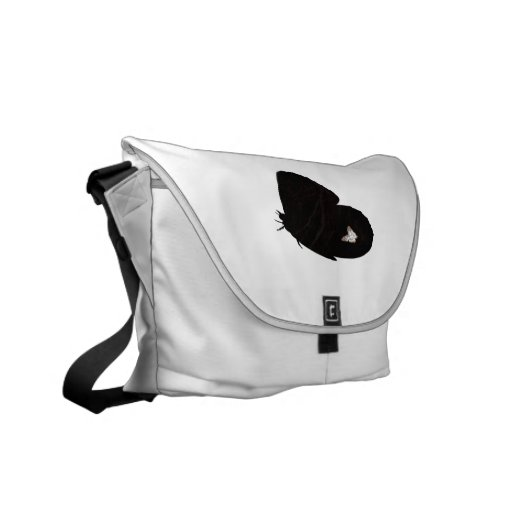 Side butterfly shape with moth pic messenger bag