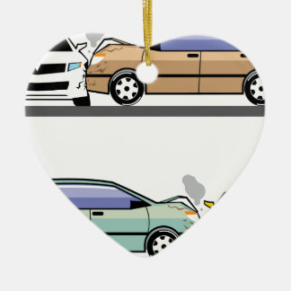 Side car crash ceramic heart decoration
