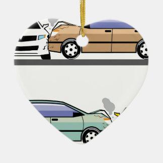 Side car crash ceramic ornament